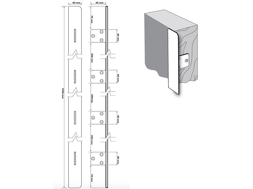 Full height (1900mm)edge fix anti-thrust plate